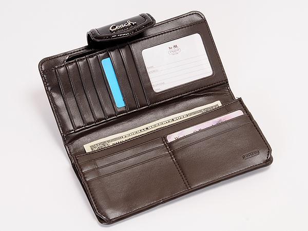 コーチのマホガニー色の長財布48253SVMA