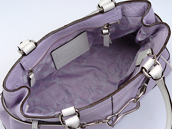 コーチ ハンドバッグF10688薄い紫×白