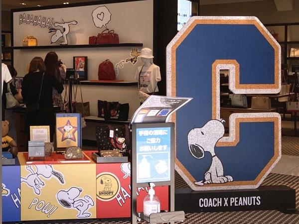 コーチ×ピーナッツ 展示販売コーナー