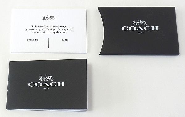 COACH 1941 証明書と冊子
