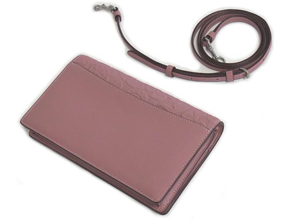 コーチ 斜めがけ財布バッグ12047ピンク ストラップ