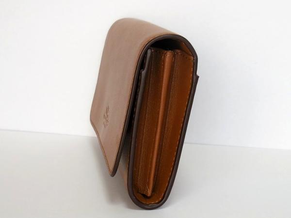 コーチ 二つ折り財布54435B茶色 側面