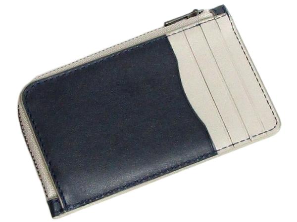 コーチ ミニ財布3856紺グレー カードスロット