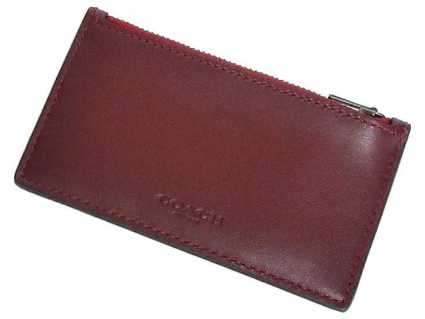 コーチ カードケース91697ワイン赤 前面