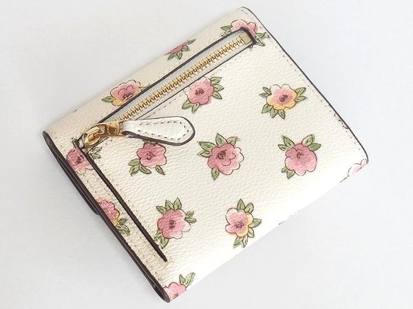 コーチ コンパクト財布11974花柄 白 背面