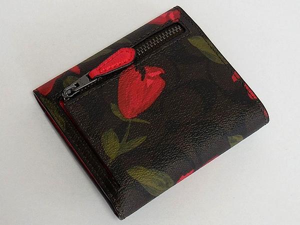 コーチ コンパクト財布F25930茶色花柄 背面
