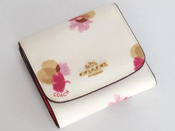 コーチ コンパクト財布F53758白花柄 正面