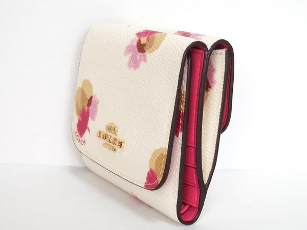 コーチ コンパクト財布F53758白花柄 側面