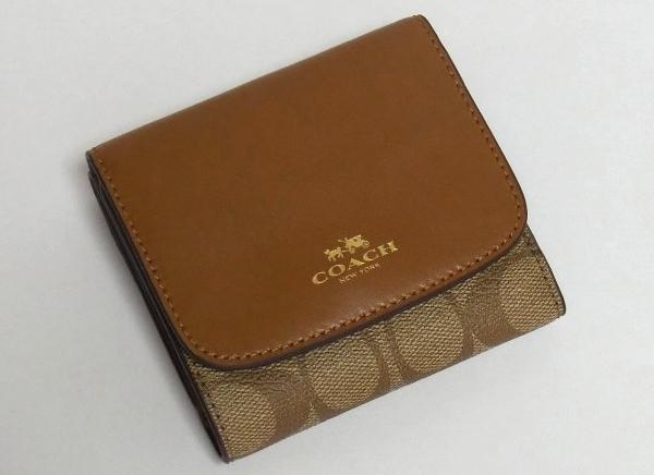 コーチ コンパクト財布F53837茶色