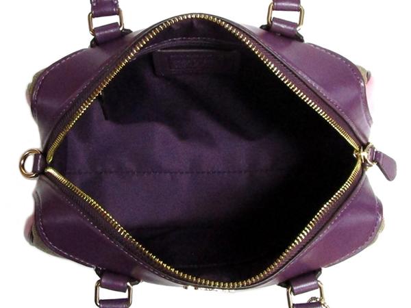 コーチ ミニハンドバッグF68100カーキピンク紫 荷室