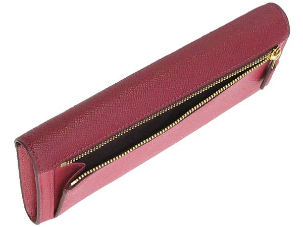 コーチ フラップ長財布12122赤ピンク 小銭入れ