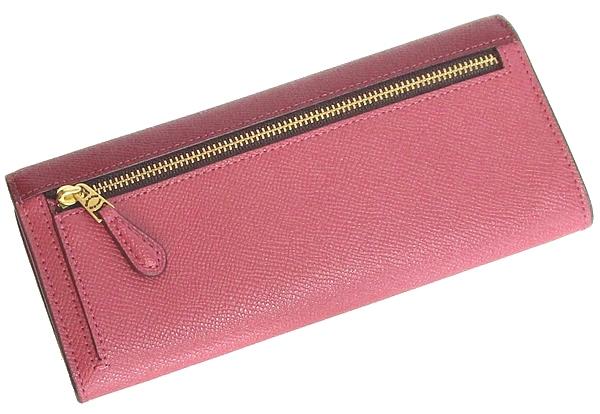 コーチ フラップ長財布12122赤ピンク 背面