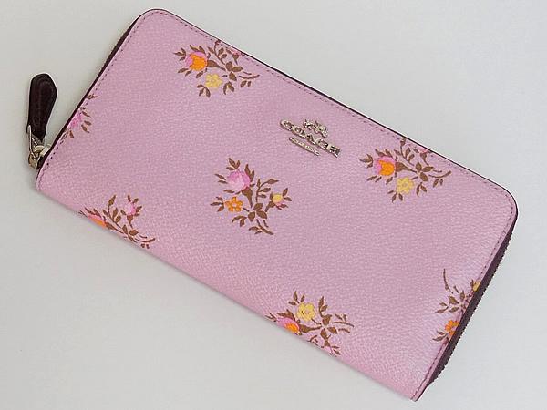 コーチ ジップ長財布22877花柄ピンク 前面