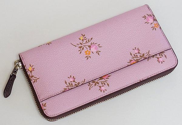 コーチ ジップ長財布22877花柄ピンク 背面
