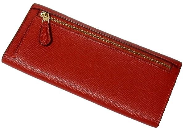 コーチ フラップ長財布57715赤 背面