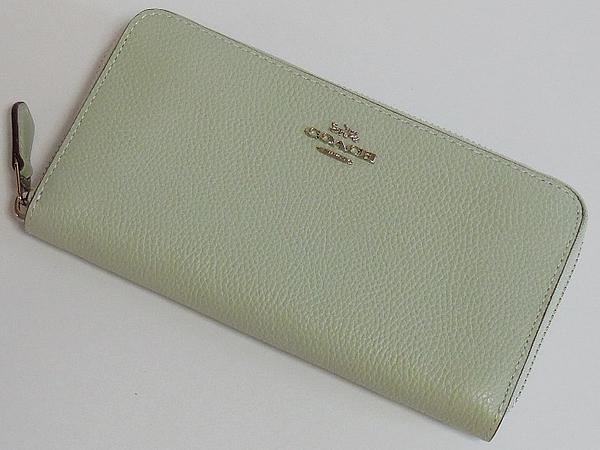 コーチ ジップ長財布58059淡い緑色 前面