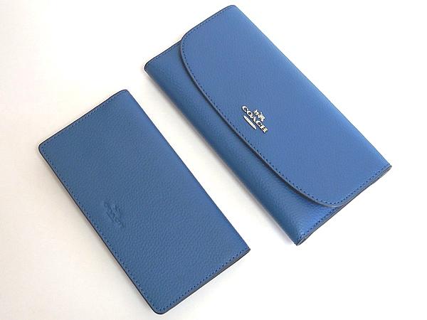 コーチ 長財布F16613青 財布とチェックブック