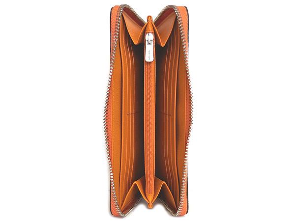 コーチ ジップ長財布F21068メタリックオレンジ 内装