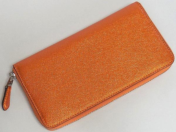 コーチ ジップ長財布F21068メタリックオレンジ 背面