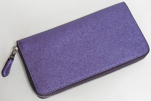 コーチ ジップ長財布F21068メタリック紫 背面