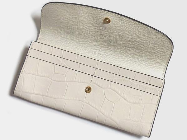 コーチ 長財布F21830クロコ白 カードポケット