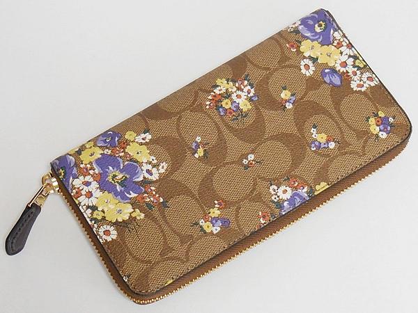コーチ ジップ長財布F31572花柄茶色 背面