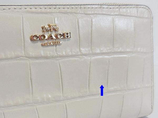 コーチ ジップ長財布F39767クロコ白 正面 黒点