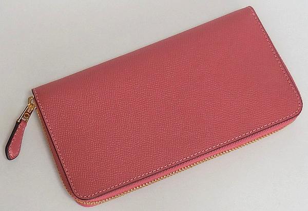 コーチ ジップ長財布F54007濃いピンク 背面