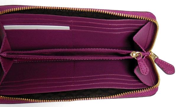 コーチ ジップ長財布F54007赤紫 小銭入れ