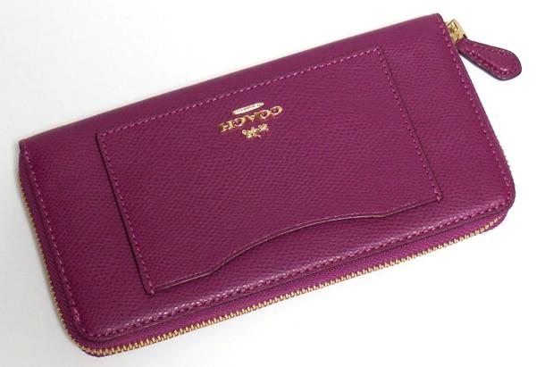 コーチ ジップ長財布F54007赤紫 前面