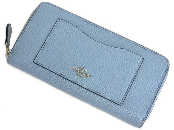 コーチ ジップ長財布F54007淡い青 前面