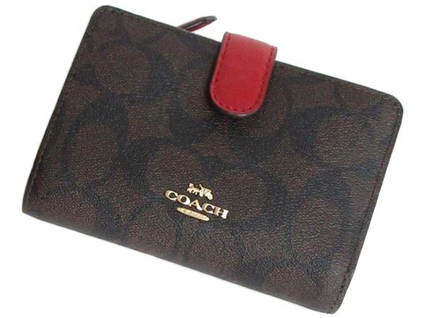 コーチ 二つ折財布23553茶色赤 前面