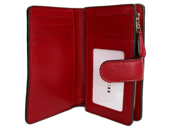 コーチ 二つ折財布23553茶色赤 カード入れ