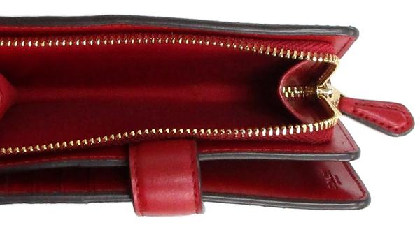 コーチ 二つ折財布23553茶色赤 小銭入れ