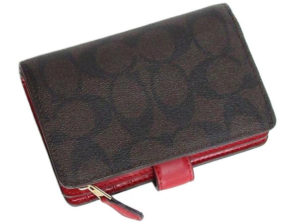 コーチ 二つ折財布23553茶色赤 背面
