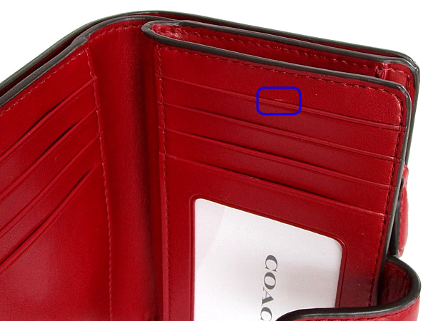 コーチ 二つ折財布23553茶色赤 キズ