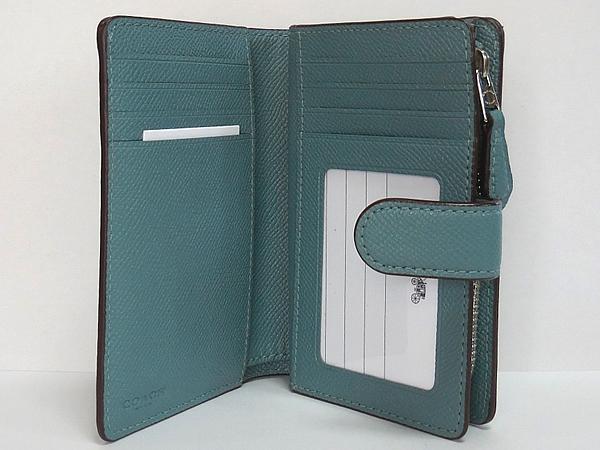 コーチ 二つ折り財布27968薄緑 カードポケット