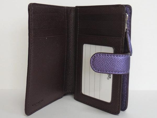 コーチ 二つ折り財布F23256メタリック紫 カード入れ