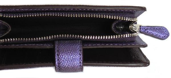 コーチ 二つ折り財布F23256メタリック紫 小銭入れ