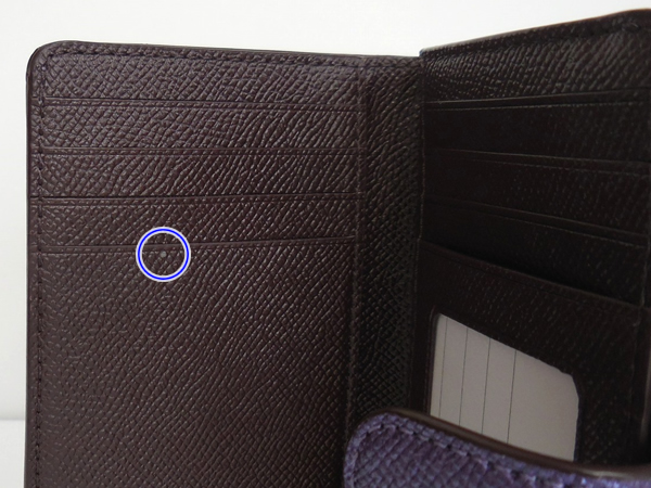 コーチ 二つ折り財布F23256メタリック紫 ハガレ