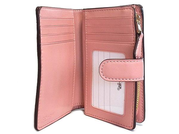 コーチ 二つ折り財布F23553カーキピンク カード入れ