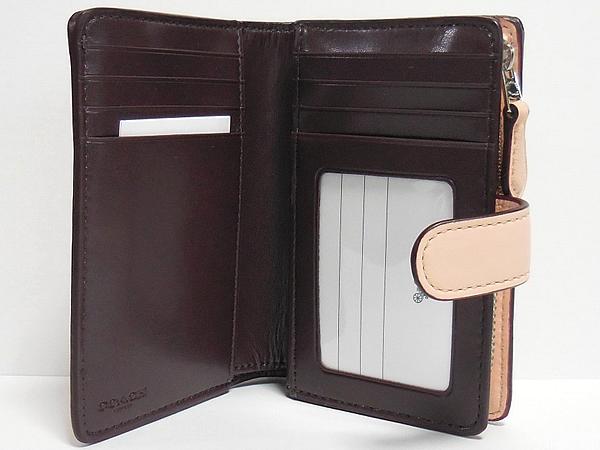 コーチ 二つ折り財布F25937ピンク カードポケット