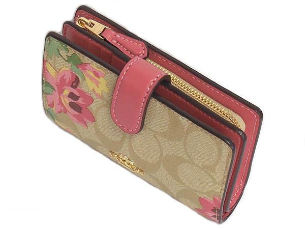コーチ 二つ折り財布F73374花柄ピンク 天面