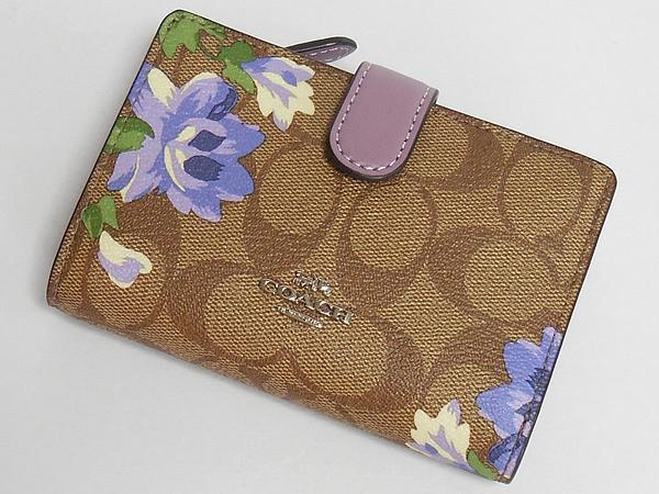 コーチ 二つ折り財布F73374花柄紫 前面