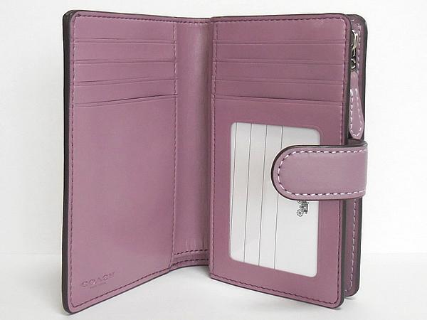 コーチ 二つ折り財布F73374花柄紫 カード入れ