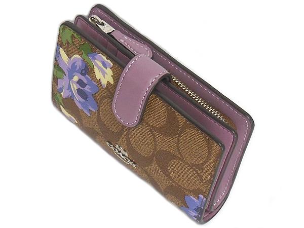 コーチ 二つ折り財布F73374花柄紫 天面