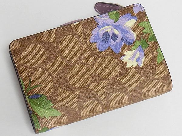 コーチ 二つ折り財布F73374花柄紫 背面