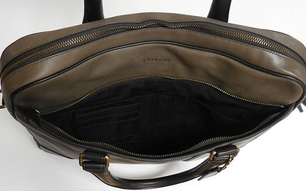 メンズ ブリーフケース71012グレー×黒 前ポケット