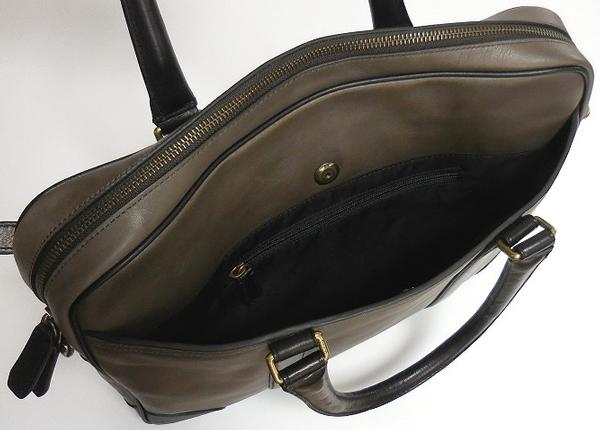 メンズ ブリーフケース71012グレー×黒 後ポケット