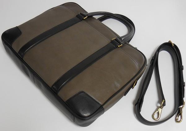 メンズ ブリーフケース71012グレー×黒 背面